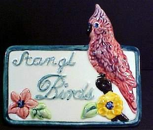 Rare Stangle Porcelain Bird Sign