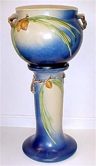 Roseville Pottery Blue Pinecone Jardinière & Pedest