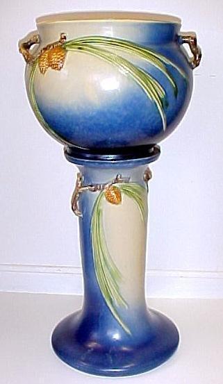 23: Roseville Pottery Blue Pinecone Jardinière & Pedest