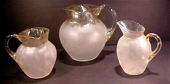 124: Three Pomona Art Glass Pitchers