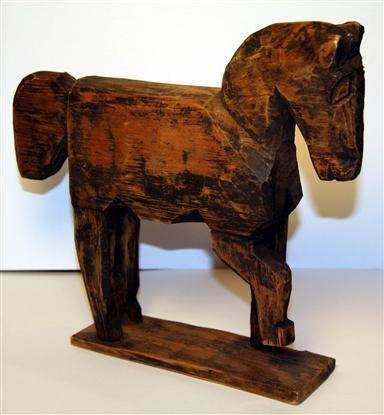 2: Carved Folk Art Primitive Horse