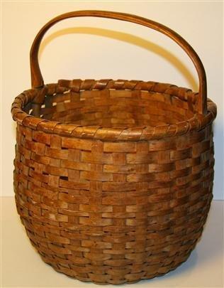 4: Antique Wooden Handled Basket