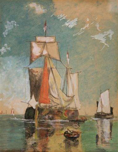 15: Sailing Ships Watercolor 19th Cent