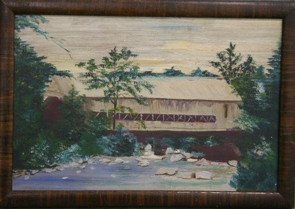 21: Folk Art Covered Bridge Painting