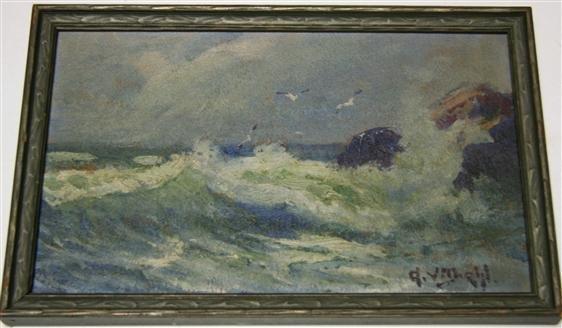 22: Arthur Vidal Diehl Seascape Painting