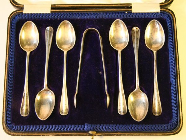 16: Six English Silver Spoons & Tongs