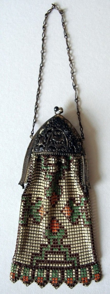 19: Art Deco Enamel Mesh Bag Purse