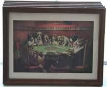 237: Five Vintage Dog Poker Prints
