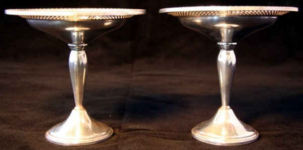 15: Pair Sterling Silver Compotes