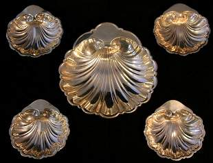 Five Gorham Sterling Shell Dishes