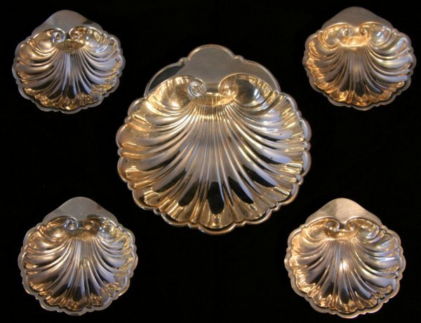 18: Five Gorham Sterling Shell Dishes