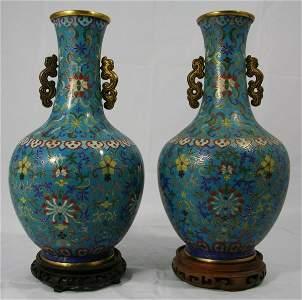 148: Large Early Cloisonné Vases