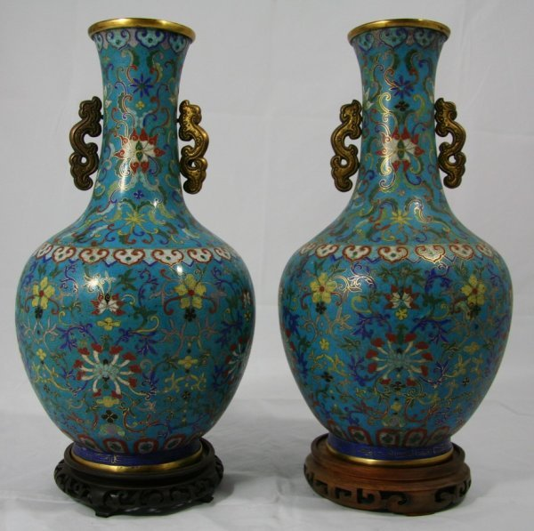 148: Large Early Cloisonné Vases