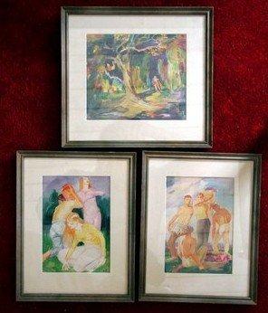 16: Three Aloys Bohnen Watercolors