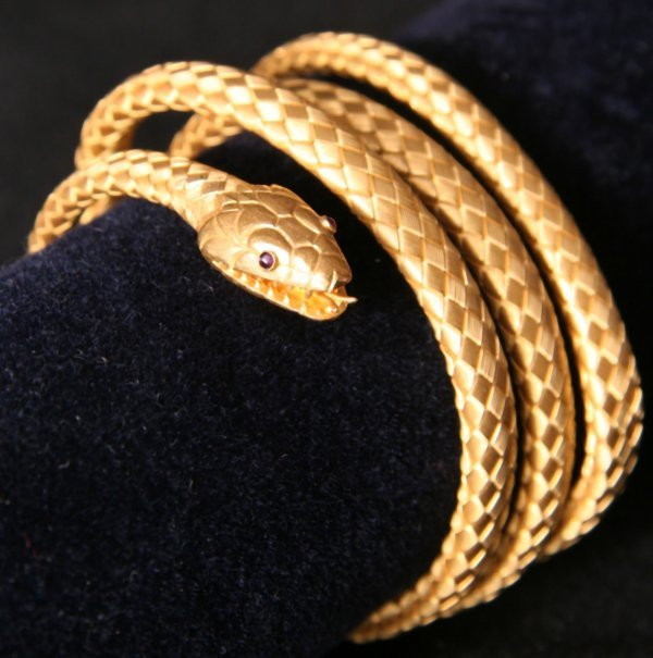 1: Tiffany & Co. Gold Snake Bracelet 19th Century