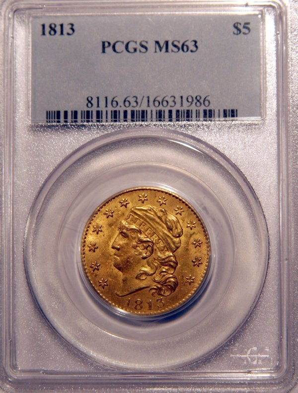 4: 1813 Capped Head $5 Dollar Gold Coin PCGS Grade MS63