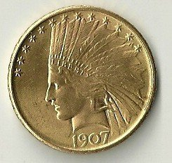 6: 1907 Indian Head Eagle Ten Dollar Gold Coin