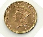 7: 1874 Indian Princess One Dollar Gold Coin