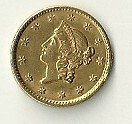 8: 1853 Liberty Head Coronet One Dollar Gold Coin