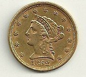 10: 1852 Liberty Head Two and a Half Dollar Gold Coin