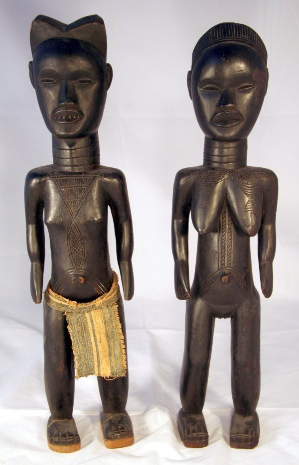 12: Pair African Dan Tribe Liberian Male Female Figure