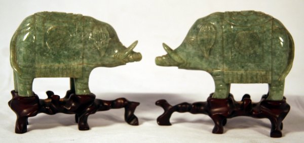 14F: Pair Jade Carved Boars on Stands