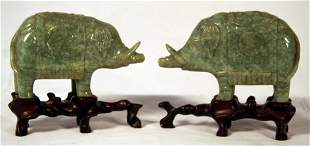 Pair Jade Carved Animals