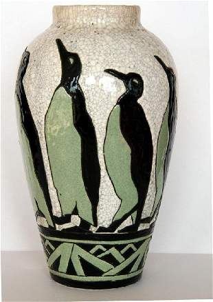 Extremely Rare Large Charles Catteau Penguin Vase
