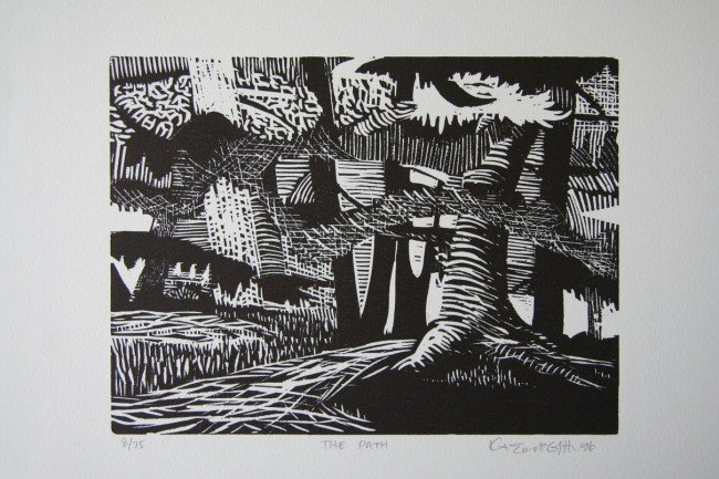 9: The Path Woodcut