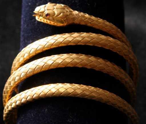 b9823cc47 70: Antique Tiffany & Co. 18kt Gold Snake Bracelet
