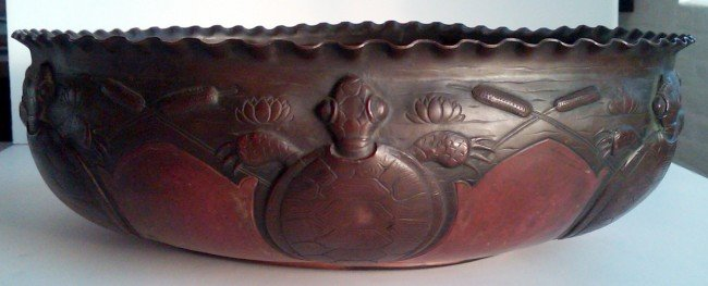 10: Large Arts & Crafts Period Copper Turtle Bowl