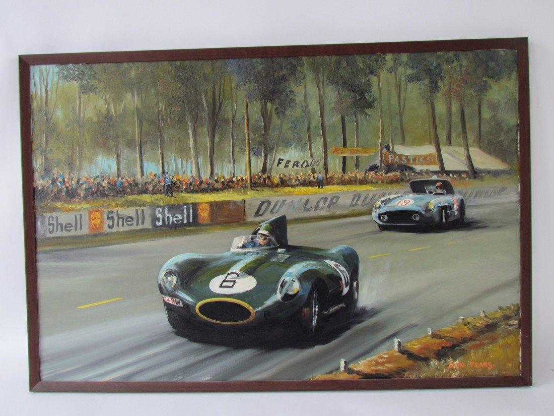 13: Dion Pears Race Car Oil on Canvas