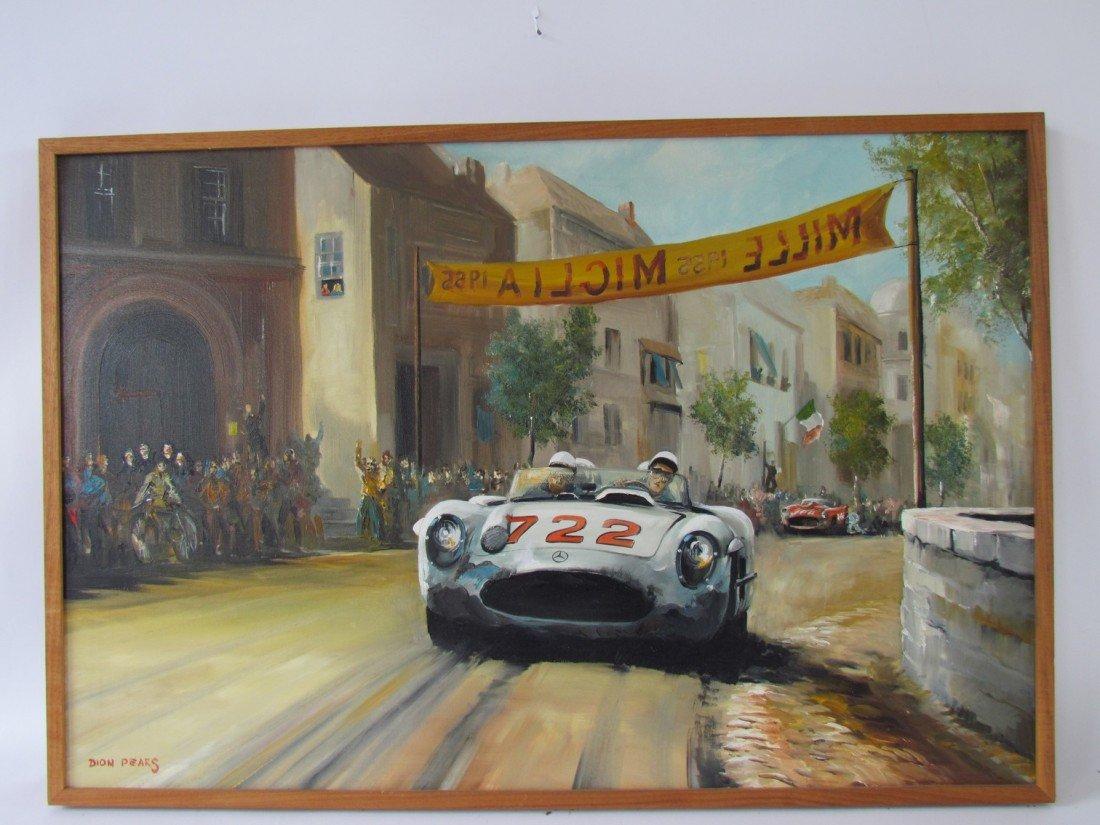 14: Dion Pears Race Car Oil on Canvas