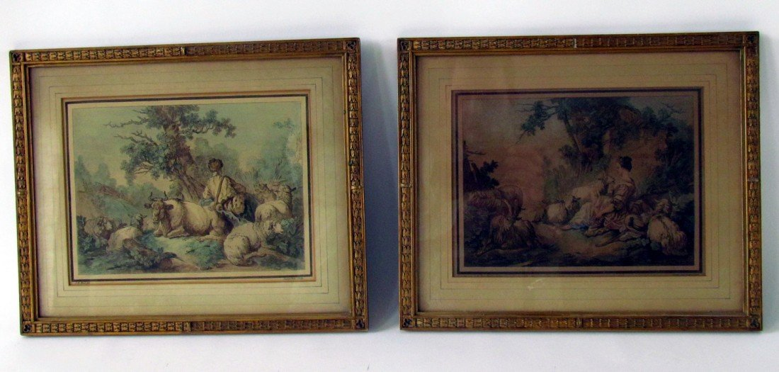 21: Pair French Hand Colored Engravings Demarteau