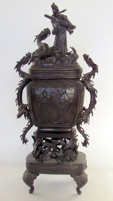 5: Large 19th Century Bronze Covered Urn