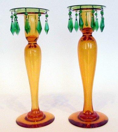 20: Pair Art Glass Candlesticks