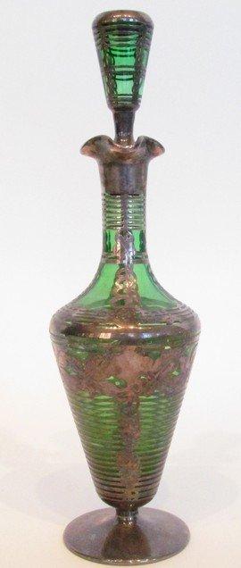 22: Art Glass Silver Overlay Bottle