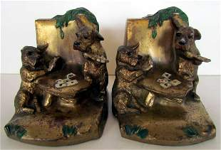 Scottie Dogs Playing Poker Bookends