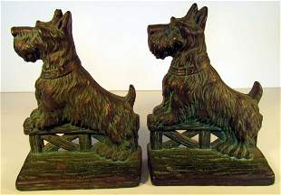 Scottie Dogs on Fence Bronze Bookends