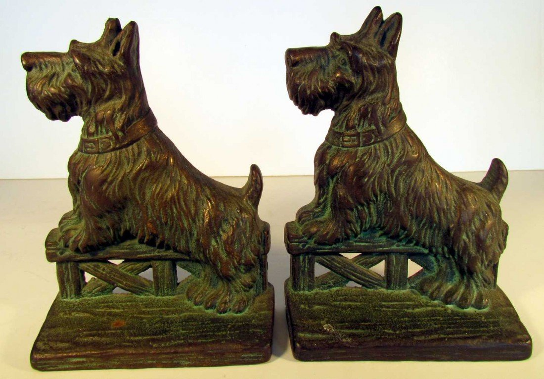 24: Scottie Dogs on Fence Bronze Bookends