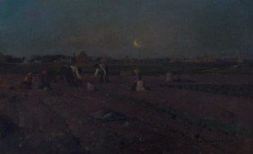 Luigi Loir (1845-1916) Toilers Under Moon Oil
