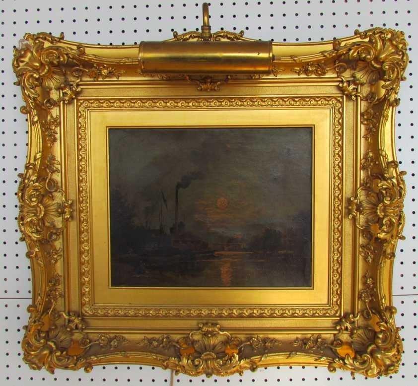 3: Stanislas Lepine (1835-1892) Sunset over Canal Oil