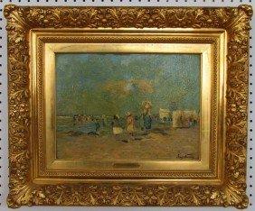 4: Frans Courtens (1854-1943) Beach Scene Oil on Board