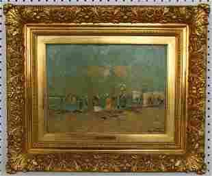 Frans Courtens (1854-1943) Beach Scene Oil on Board