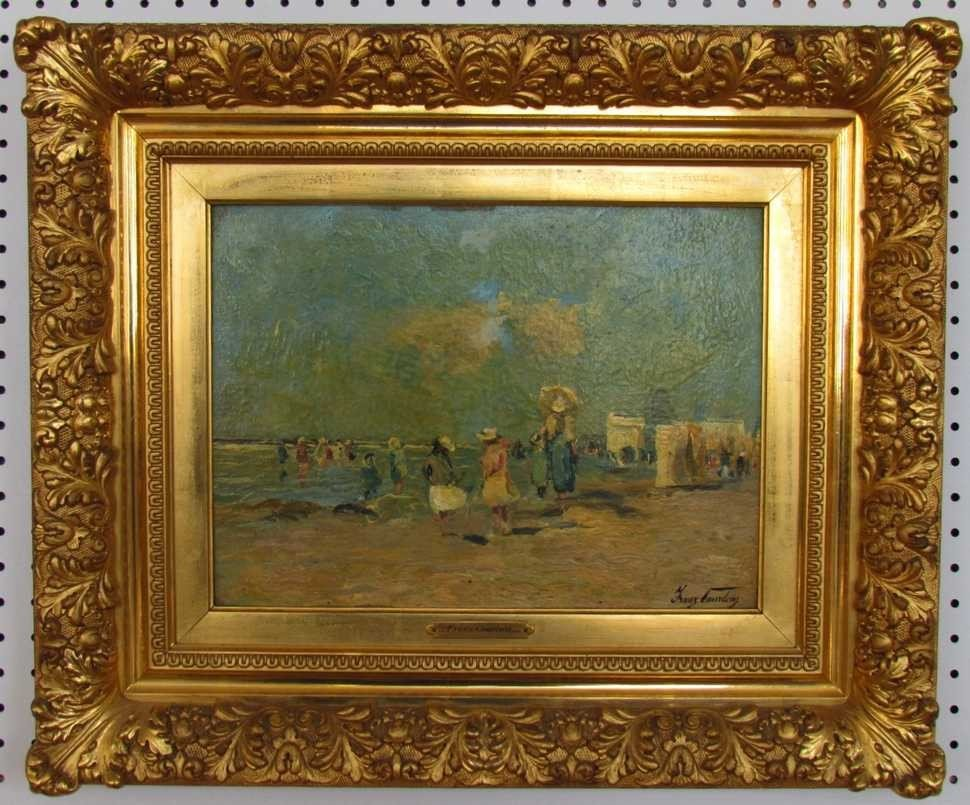 4: Frans Courtens (1854-1943) Beach Scene Oil on Board