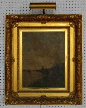 6: 19th Century Landscape Oil on Canvas Windmill