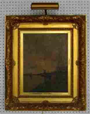 19th Century Landscape Oil on Canvas Windmill