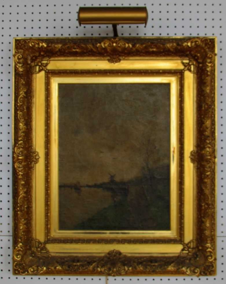 6: 19th Century Landscape Oil on Canvas Windmill
