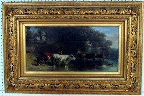 7: Friedrich Voltz (1817-1886) Cows in Landscape Oil