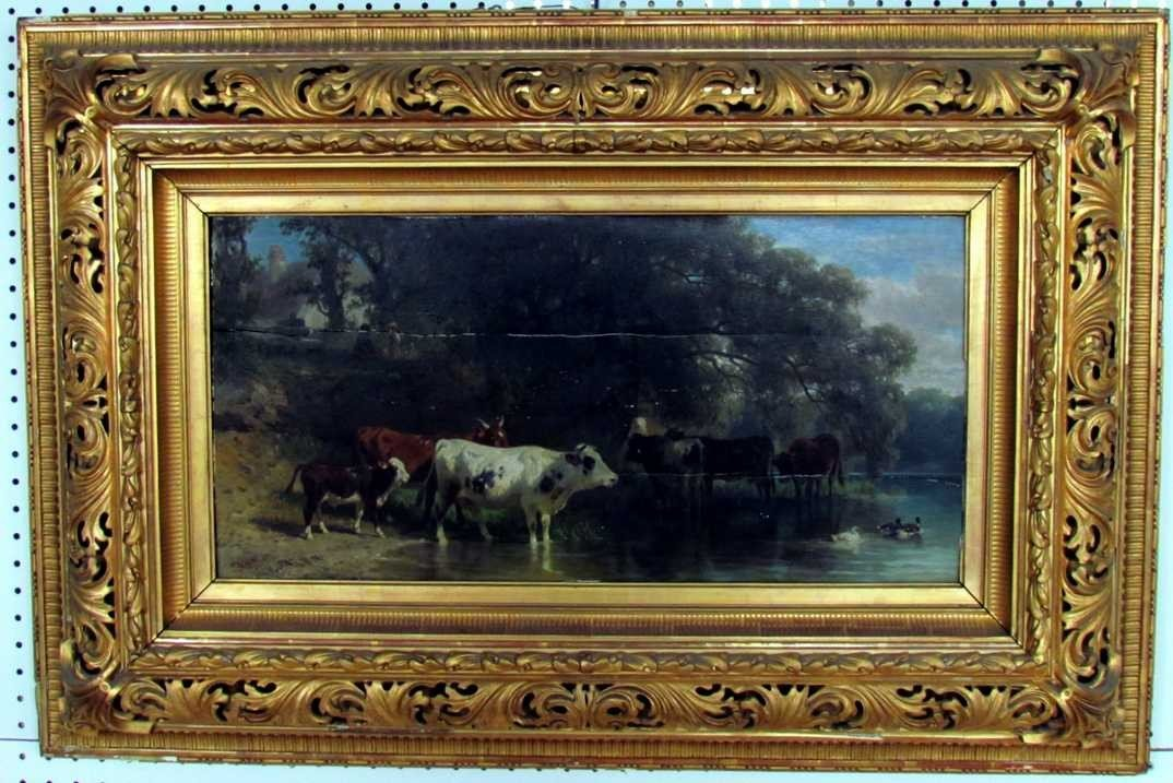 7: Friedrich Voltz (1817-1886) Cows in Landscape Oil